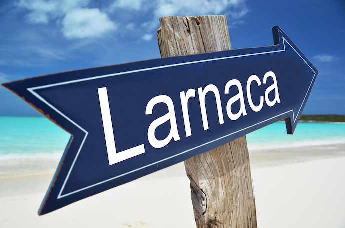 Larnaca sign on the beach
